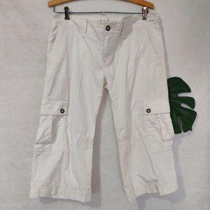 Roxy Ivory Cargo Capri Pants